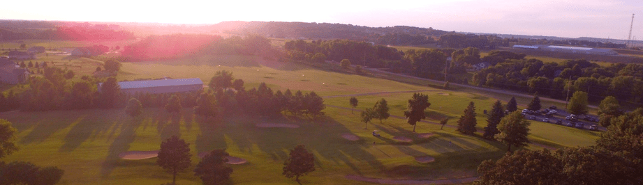 Sun setting on golf course in cannon falls